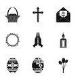 holy easter icon set simple style vector image vector image