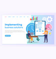 implementing business solutions side template vector image