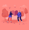 loving couple share huge red heart to each other vector image