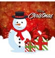 merry christmas card snowman with box gift red vector image