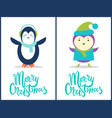 merry christmas penguin bird vector image vector image