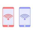 mobile phone connected to wi-fi icon vector image vector image