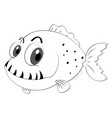 outline animal for fish with sharp teeth vector image vector image