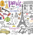 Paris doodles elements Hand drawn set with eiffel vector image vector image