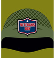 Patriot day Emblem on soldiers helmet Military vector image vector image