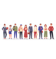 people group in medical mask standing together vector image vector image