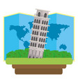 pisa tower icon vector image vector image