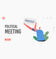 political meeting landing page template vector image vector image