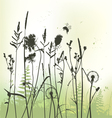 Real grass silhouette with bumblebee vector image
