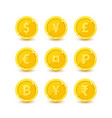set of icons for currency symbol vector image vector image