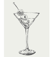 Sketch Martini Cocktails with Olives vector image vector image