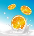 splash of milk with orange fruit - with blue vector image
