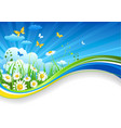 Summer banner with chamomiles and clouds vector image vector image