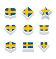 sweden flags icons and button set nine styles vector image