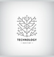 tech logo black linear technology vector image