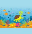 turtle in underwater scene tortoise seaweeds and vector image