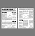 vintage newspaper template sheets set on a grey vector image
