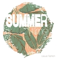 Vintage tropical exotic summer print for t-shirt vector image