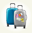 wheeled plastic suitcases with baggage travel vector image vector image