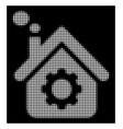 white halftone smoking factory icon vector image