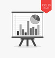 Whiteboard with chart icon statistics concept Flat vector image