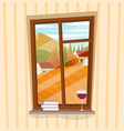 window with autumn view vector image