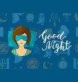 with cartoon sleep elements sleeping woman vector image