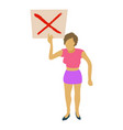 woman protest with sign icon cartoon style vector image vector image