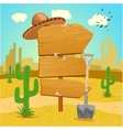 Wooden signpost in the Mexican desert with cactus vector image