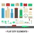 flat city elements on white background vector image