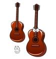 Classical acoustic guitar cartoon character vector image