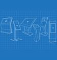 blueprint of six promotional interactive kiosk vector image vector image