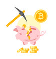 broken piggy bank with golden bitcoins vector image