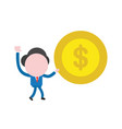 businessman character walking and holding dollar vector image vector image