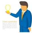 Businessman holding a light bulb vector image