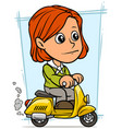 cartoon redhead girl character riding on scooter vector image