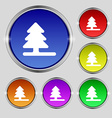Christmas tree icon sign Round symbol on bright vector image vector image