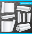 clean white paper scrolls transparent set vector image vector image