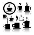 coffee and tea cup icons vector image