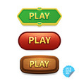 colorful buttons with play tittle bright vector image vector image