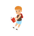 cute boy jumping with book elementary school vector image vector image