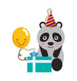 cute panda gift balloon kawaii birthday vector image vector image