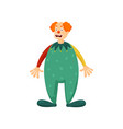 cute red hair clown with green color clothes vector image vector image