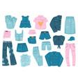 denim clothes blue jean garments denim shirt vector image