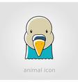 Dove flat icon Animal head symbol vector image vector image