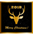 Elegant merry christmas card with golden raindeer
