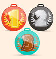 First Second and Third Place Retro Medals Set vector image vector image