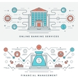 Flat line Banking and Financial Management Concept vector image vector image