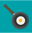 fried egg in a frying pan isolated on color vector image vector image
