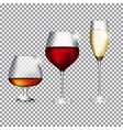 Glass of Champagne Cognac and Wine on Transparent vector image vector image